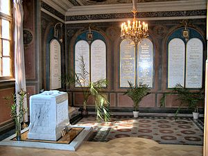 Saints Peter and Paul Cathedral, Saint Petersburg - Tombstones marking the burial of Tsar Nicholas II and his family in St. Catherine's Chapel
