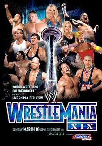 WrestleMania XIX - Promotional poster featuring the Space Needle among various WWE wrestlers