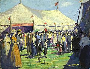 Arnold Franz Brasz - At the Big Top, oil on canvas