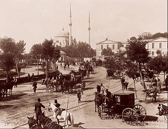 Dolmabahçe Mosque - A late 19th Century photograph of the mosque by the Abdullah Brothers.