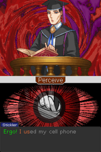 """Apollo Justice: Ace Attorney - Apollo Justice introduces the """"perceive"""" system, in which players look for nervous motions during witness testimonies."""