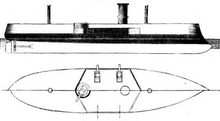 A simple side drawing of a ship with black shaded areas showing the waterline belt armor and the casemate.