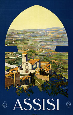 c. 1920 travel poster Assisi, travel poster for ENIT, ca. 1920.jpg