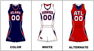 "Atlanta Hawks - Uniforms from 2007 to 2015. In 2014, the shorts logo changed to the team's former ""Pac-Man"" logo."