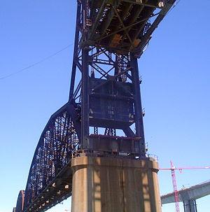 Benicia–Martinez Bridge - The UPRR Benicia-Martinez drawbridge with draw raised to permit the passage of the WW II Liberty Ship, SS Jeremiah O'Brien, as seen from its deck.