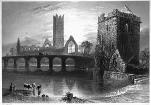 Claregalway - 19th-century view showing the abbey, the old bridge and the tower