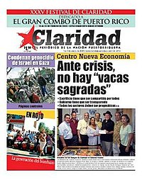 Claridad (newspaper) January 7 2009 cover.jpg