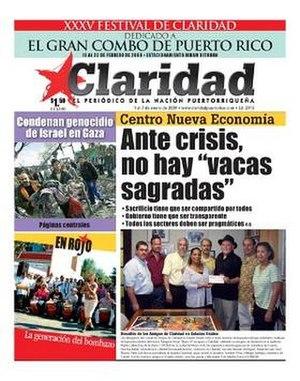 Claridad - Image: Claridad (newspaper) January 7 2009 cover