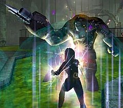 A tanker (foreground) confronts one of the game's arch villains, the mad scientist Dr. Vahzilok, in City of Heroes.