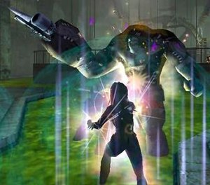 City of Heroes - A tanker (foreground) confronts one of the game's arch villains, the mad scientist Dr. Vahzilok, in City of Heroes.