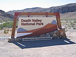 The sign at the entrance of Death Valley National Park.