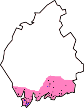 Manor of Hougun - Approximate extent of Domesday coverage : the Hougun district, if indeed it was a district, may have covered the three peninsulas to the left of the pink area