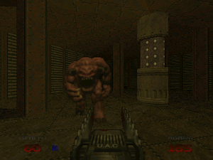 Doom 64 - A demon approaches the chainsaw wielding player in Staging Area, the first level of the game. The enemy and weapon sprites are unique to Doom 64.