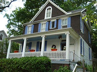 Evergreen, Baltimore - A typical shingle-style house in the Evergreen neighborhood