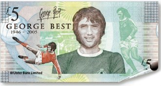 Ulster Bank - The commemorative George Best five-pound note issued by Ulster Bank