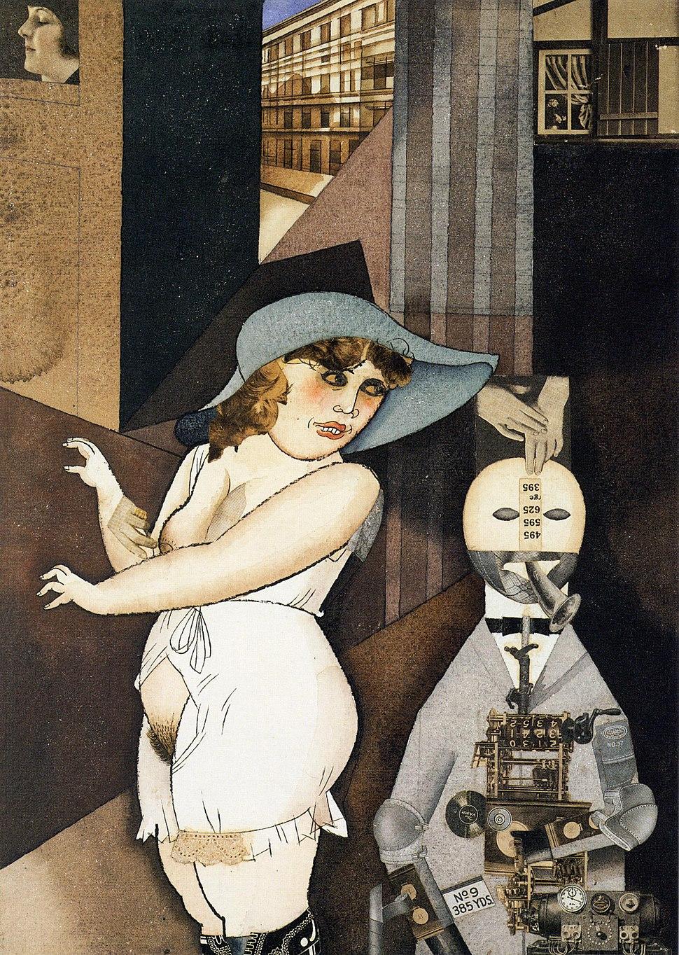 George Grosz, Daum marries her pedantic automaton George in May 1920, John Heartfield is very glad of it, Berlinische Galerie