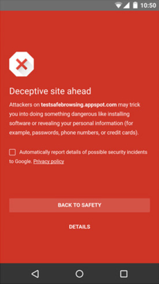 Screenshot of the Google Safe Browsing in an Android device blocking a deceptive site.