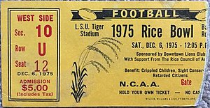 Grantland Rice Bowl - Ticket stub from 1975 game