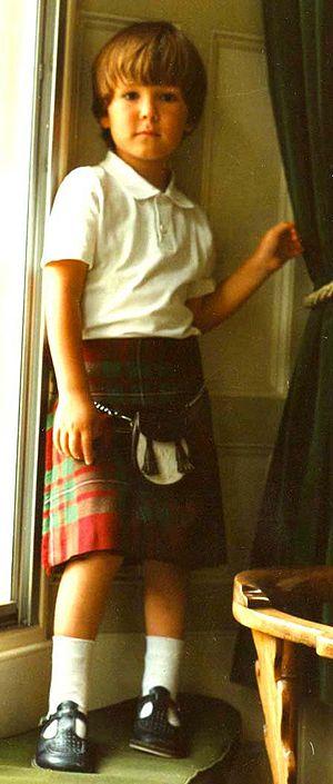 Tartan - A boy wearing Hunting MacGregor tartan