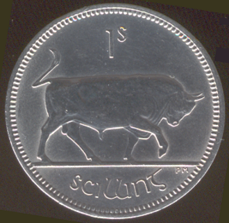 Coins of the Republic of Ireland - Shilling coins featured a bull design. They continued to be used after decimalisation as five pence until the early 1990s when the 5p coin was reduced in size.