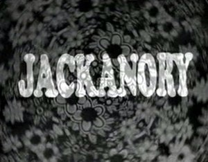 Jackanory - A title frame from the 1960s (top, the same font continued to be used throughout the 1970s)