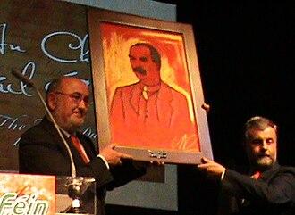 Jack O'Connor (trade unionist) - Jack O'Connor (right) is presented with a painting of James Connolly by Sinn Féin Dáil leader Caoimhghín Ó Caoláin to mark the 100th anniversary of SIPTU