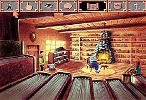 King's Quest VI - Screenshot from the Windows version displaying the interface of the functions toolbar and inventory; on the left is the player character Prince Alexander