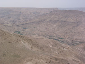 Wadi Mujib - Wadi Mujib looking east in summertime