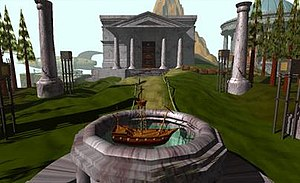 Myst - Screenshot of Myst, showing the island's library in the background and a puzzle involving a ship in the foreground