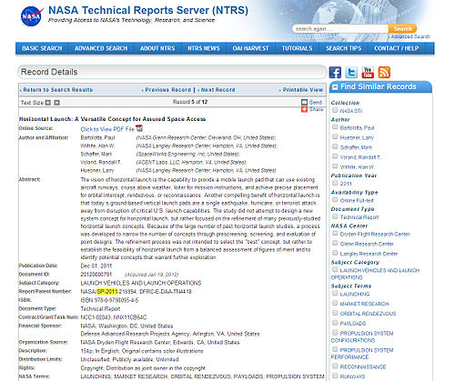Screen shot of NTRS record display after database search