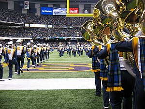 Band of the Fighting Irish - Closeup of the Notre Dame band as they take the field to perform the halftime show at the 73rd annual Sugar Bowl