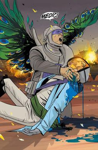 Saga (comics) - One of the two panels in issue 12 for which Comixology initially prohibited sale of that issue through iOS because of sexual content. Note the image on the screen.