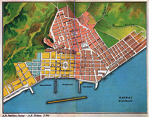 The first city plan of Patras, 1829