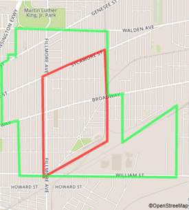 Red: Historic Polonia, Green: Broadway-Filmore District