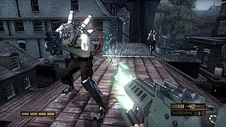 Resistance: Fall of Man - Gameplay image, facing a Chimeran Hybrid. The player is using the XR-005 Hailstorm.