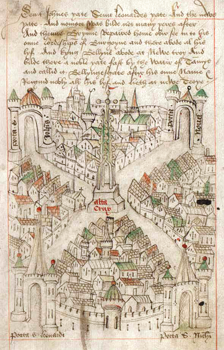 Robert Ricart's map of Bristol, drawn when he became common clerk of the town in 1478. At the centre, it shows the High Cross. Robert Ricart's map of Bristol.png