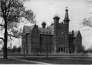 Rose-Hulman Institute of Technology - Photograph (circa 1881) of the original main campus building at 13th and Locust.