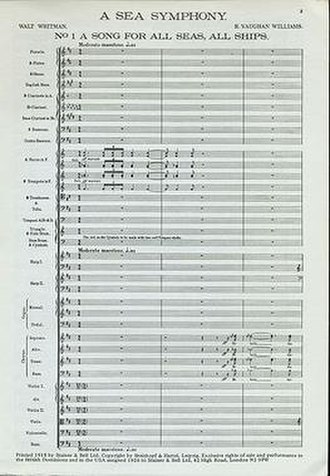 A Sea Symphony - First page of the full score to A Sea Symphony.