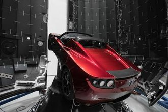 Falcon Heavy test flight - The payload, Elon Musk's original Roadster, mounted on the payload adapter inside the payload fairing