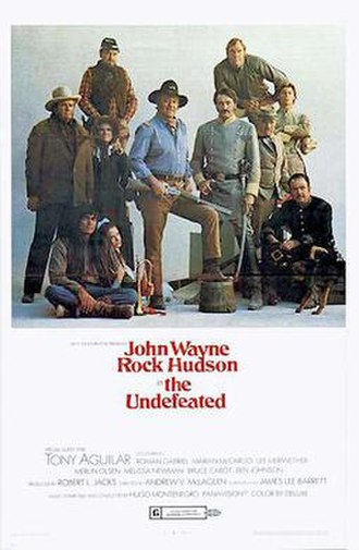 """Marian McCargo -  Theatrical poster for the 1969 film """"The Undefeated"""". (McCargo standing, 2nd from left)"""
