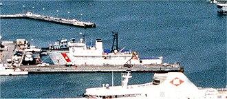 USNS Vindicator (T-AGOS-3) - USCGC Vindicator (WMEC-3) in port at Norfolk, Virginia, on 26 July 1994.
