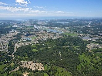 Upper Coomera, Queensland - An aerial shot of Coomera and Upper Coomera looking towards Moreton Bay and the Pacific Ocean