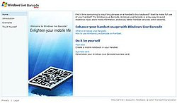 Windows Live Barcode website