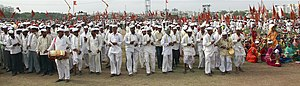 Gandhi cap - Thousands of people wearing Topi during Wari, Dehugaon, Maharashtra