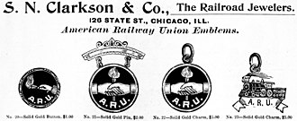American Railway Union - Advertisement for pins and fobs bearing the emblems of the ARU.