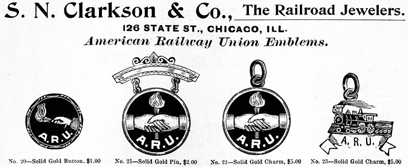 Advertisement for pins and fobs bearing the emblems of the ARU