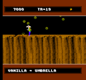 A Boy and His Blob: Trouble on Blobolonia - The vanilla jelly bean transforms Blobert into a protective umbrella. The HUD shows the player's score, remaining treasures, and extra lives.