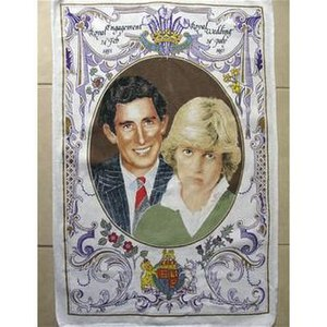 """The Trumpton Riots EP - A tea towel commemorating the 1981 wedding of Charles, Prince of Wales, and Lady Diana Spencer, of the kind referred to in """"Architecture and Morality Ted and Alice"""""""
