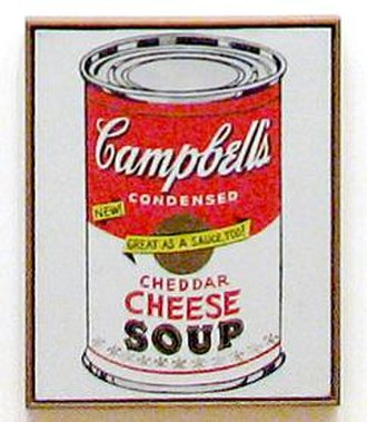 Pop art - The Cheddar Cheese canvas from Andy Warhol's Campbell's Soup Cans, 1962.