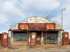 Rain Man - A now-abandoned gas station and general store in Cogar, Oklahoma was used in a scene from the film. The Colvert sign has since been removed, revealing the full name of the business.